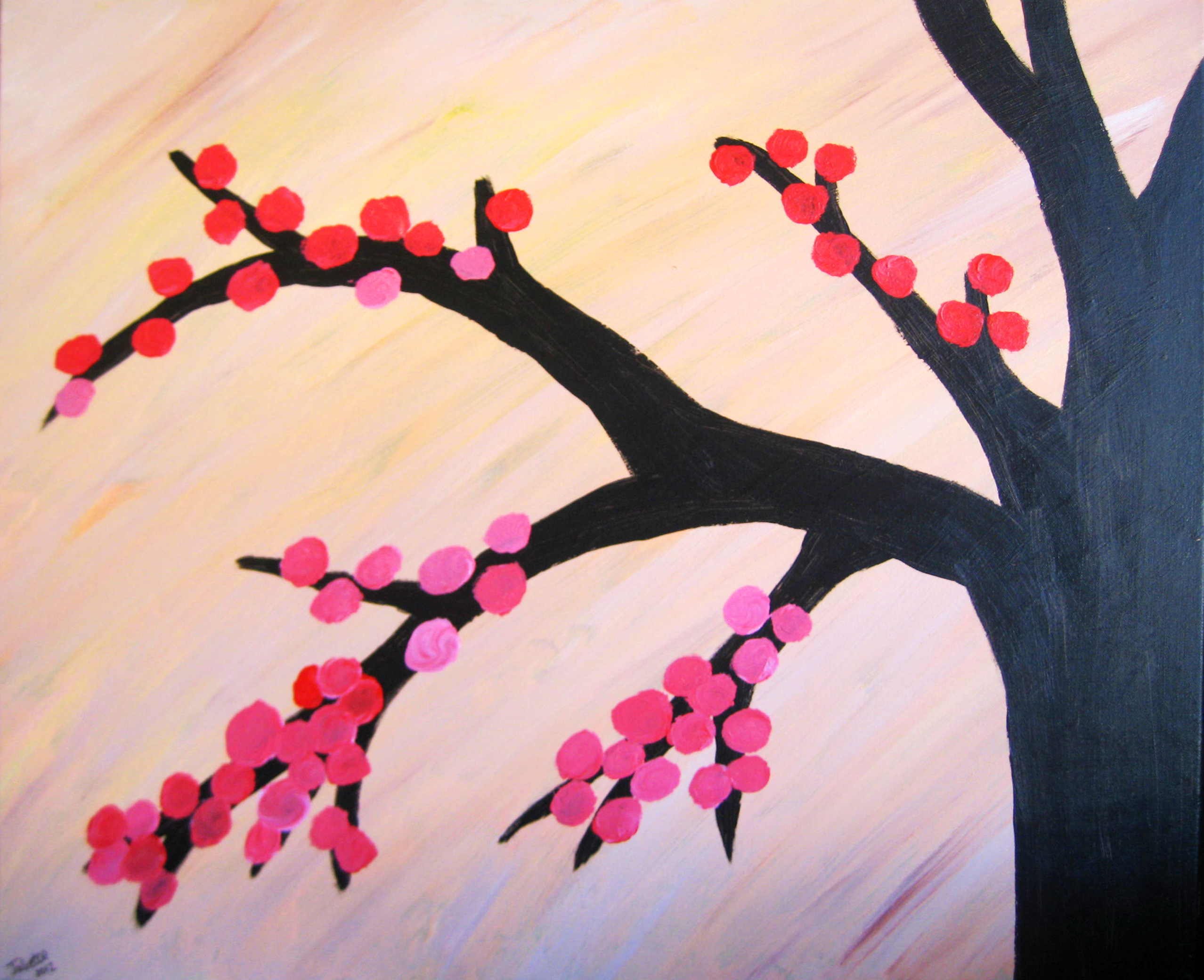 Crafts juliette danielle actress for Simple cherry blossom painting